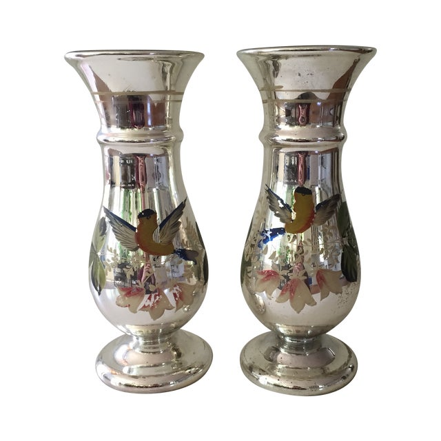 Antique Mercury Glass Vases - A Pair - Image 1 of 5