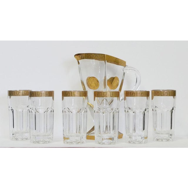 Metal 6 Rare Versace Medusa d'Or Tall Cocktails Glasses and Pitcher For Sale - Image 7 of 7
