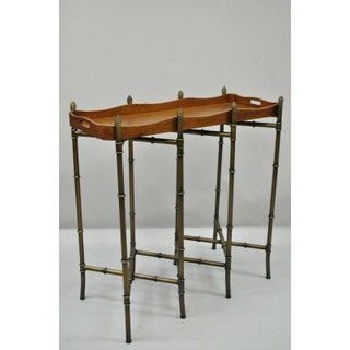 20th Century Chippendale Sarreid Metal Faux Bamboo Chinese Style Tall Folding Tray Side Table Preview