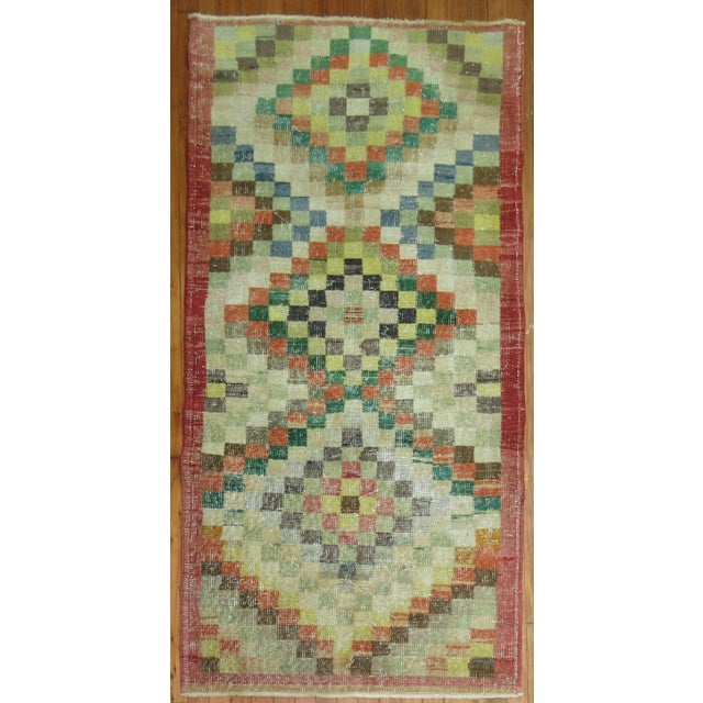 Turkish Deco Runner. 3 X 6. For Sale - Image 4 of 4