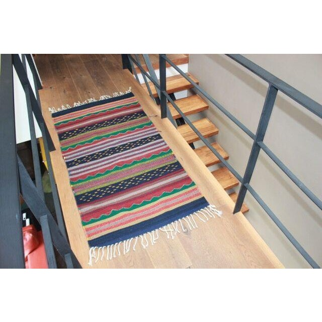 Mexican Pedal-Loom Striped Rug - 2′7″ × 4′10″ - Image 5 of 5
