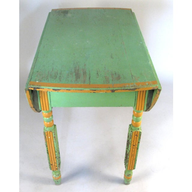 Wood Antique 1920s Hand Painted Drop-Leaf Dining Table For Sale - Image 7 of 8