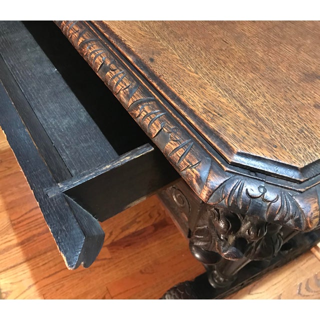 19th Century French Renaissance Dolphin Table Desk For Sale - Image 10 of 11