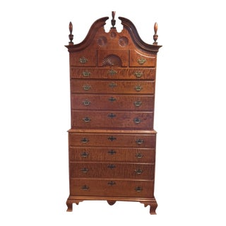 Eldred Wheeler Tiger Maple Bonnet Top Highboy Chest For Sale