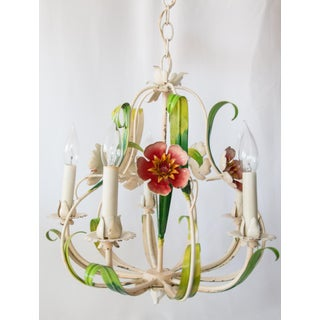 Vintage Italian Tole Red Flowers Chandelier Preview