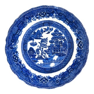 Staffordshire Willow Pattern Transferware Plate 1840 - 1850 For Sale