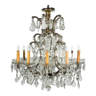 Antique Traditional French 12 Light Lead Crystal Chandelier For Sale