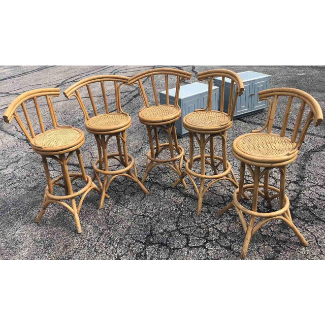 Mid-Century Bamboo and Cane Tiki Bar Stools - 5 Pc. Set For Sale In Chicago - Image 6 of 9