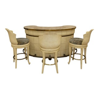 Maitland Smith Ostrich Embossed Leather Bar With 3 Swivel Stools For Sale