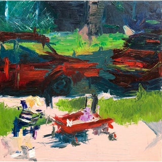 "Contemporary Abstract Oil on Canvas ""Red Wagon"" For Sale"