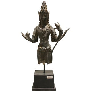 Indonesian Bronze Wisnu Statue on Stand For Sale