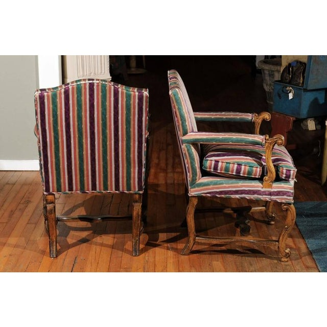 Striped Italian Bergere Chairs - A Pair For Sale - Image 4 of 6