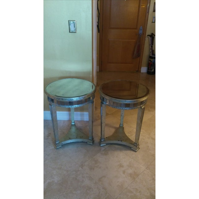 Borghese Style Round Mirror Accent Tables - A Pair - Image 4 of 5
