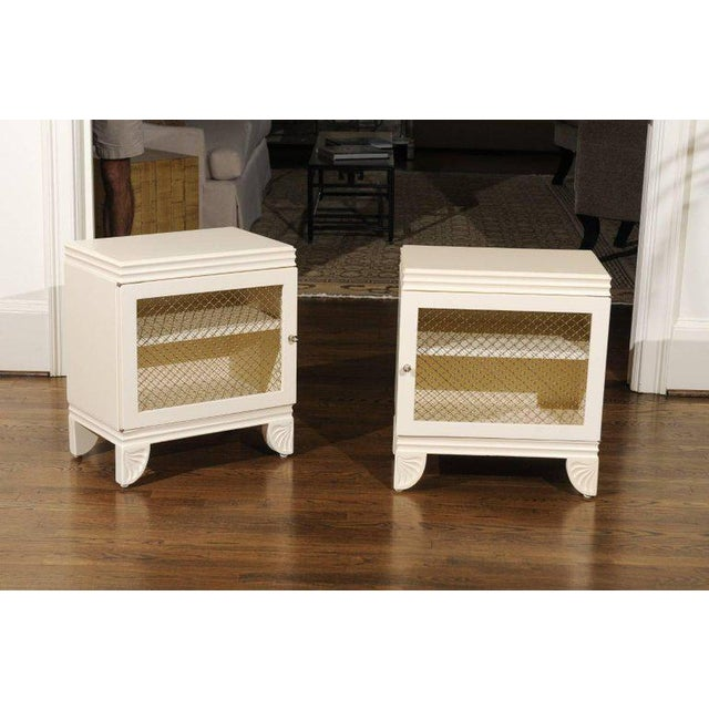1930s Gorgeous Restored Pair of End Tables by Widdicomb in Cream Lacquer, Circa 1938 For Sale - Image 5 of 11