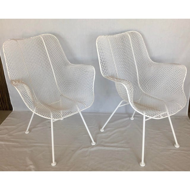 White 1960s Vintage White Sculptura Russell Woodard Patio Chairs- A Pair For Sale - Image 8 of 13