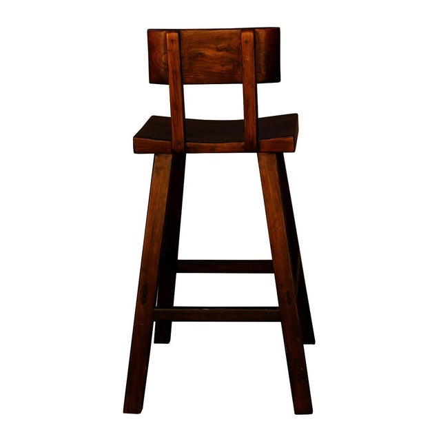 Handmade Solid Wood Bar Stool For Sale - Image 4 of 6