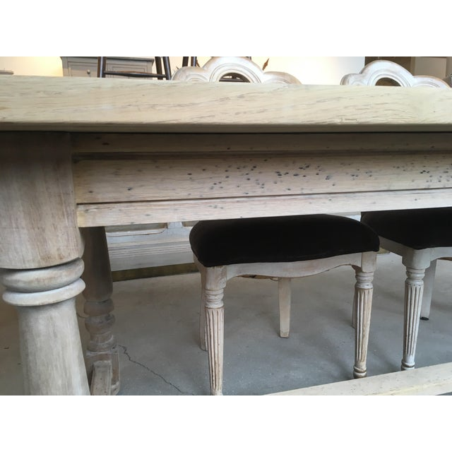 French Antique Scrubbed Dining Table For Sale - Image 4 of 8