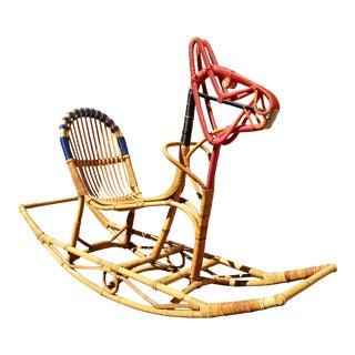 Danish Modern Rattan Rocking Horse For Sale