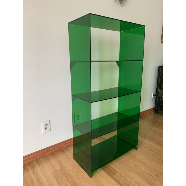Modern Late 20th Century Green Acrylic Bookshelf For Sale - Image 3 of 5