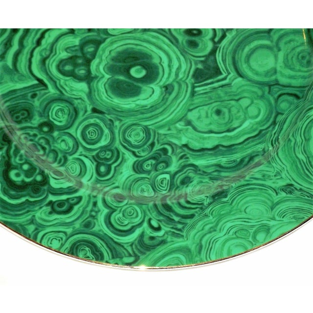 Green Vintage Neiman Marcus Emerald Green Malachite Serving Plate For Sale - Image 8 of 10