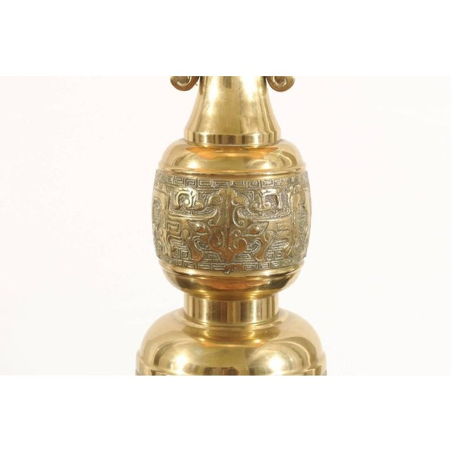Gold Majestic Pair of Mid-Century Brass Lamps with Spectacular Helmet Style Base For Sale - Image 8 of 11