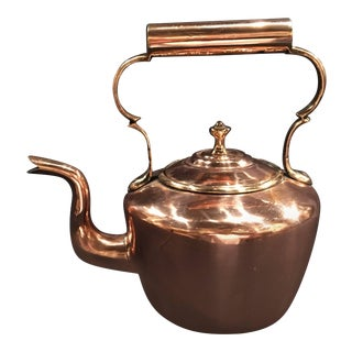 English Polished Copper Kettle with Handle and Lid, 19th Century For Sale