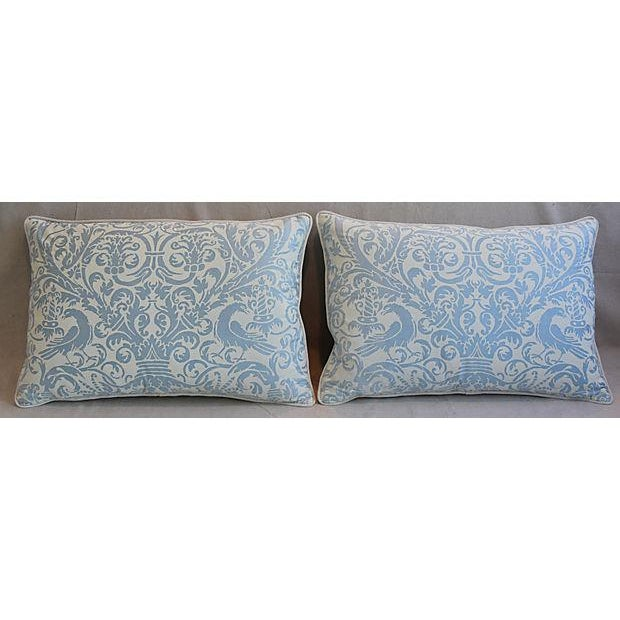 Custom Tailored Italian Fortuny Uccelli Feather/Down Pillows - A Pair For Sale - Image 9 of 11