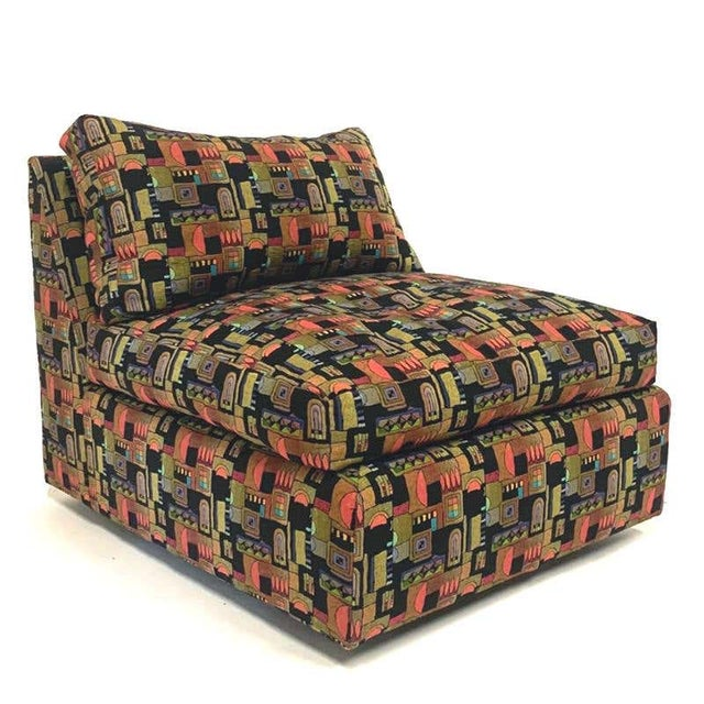 1970s Milo Baughman Memphis Style Fabric Sectional Sofa with Down Filled Cushions - Set of 4 For Sale - Image 5 of 13