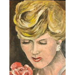 French 1950s Portrait of Blond With Rose For Sale