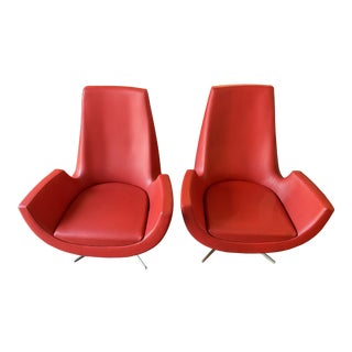 Set of 2 Martha Bratturd Kurve Lounge Chair Red Leather For Sale