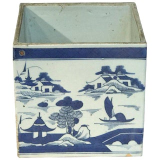 Large Square Canton Chinese Export Porcelain Cachepot For Sale