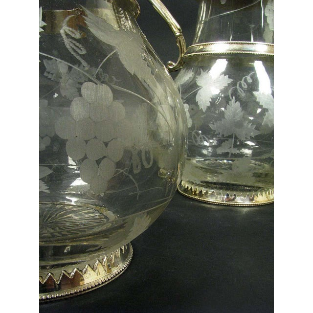 Glass English Sliver Plated and Engraved Glass Claret Jugs - a Pair For Sale - Image 7 of 10