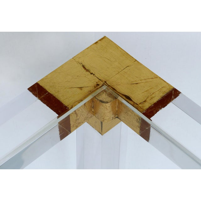 2010s Custom Lucite Side Table W/ Interchangeable Tops & Gold Leaf Accents For Sale - Image 5 of 10