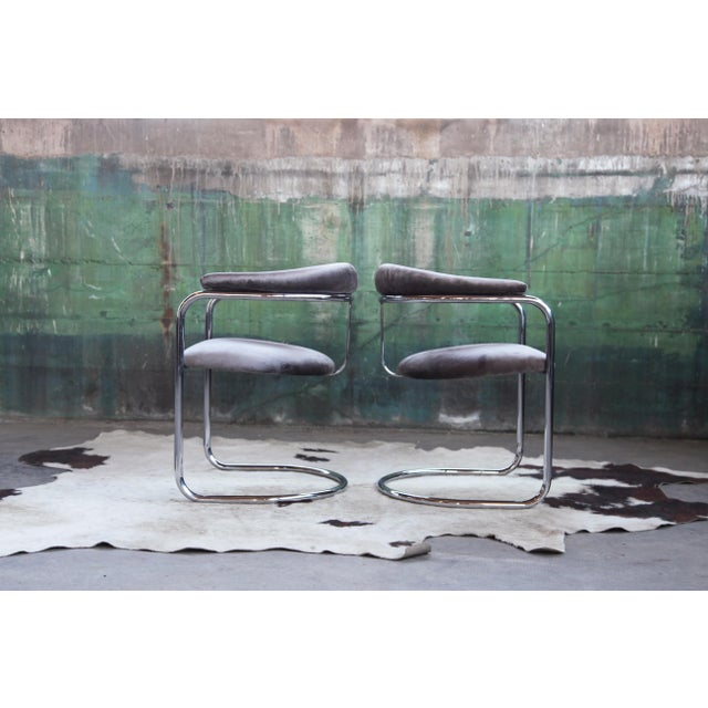 Mid Century Modern Anton Lorenz for Thonet Bent Chrome Cantilever Chairs - a Pair For Sale - Image 11 of 12