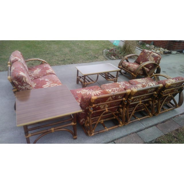 Boho Chic Vintage Mid Century Paul Frankl Style Pretzel Arm Rattan Bamboo Sofa - Set of 5 For Sale - Image 3 of 13
