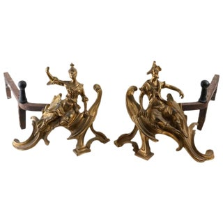 Louis XV Style Male & Female Gilt Bronze Chenets Andirons - a Pair For Sale