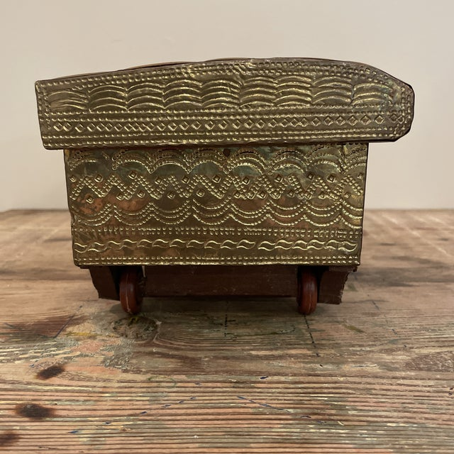 Mid 20th Century Damchiya Pitara Brass & Copper Embossed Jewelry Box From India on Wheels For Sale - Image 4 of 7