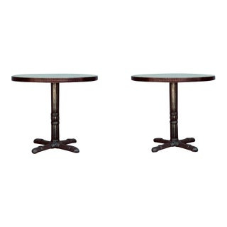 Polished Steel and Antiviral Raw Copper Top Gueridon Tables - a Pair For Sale