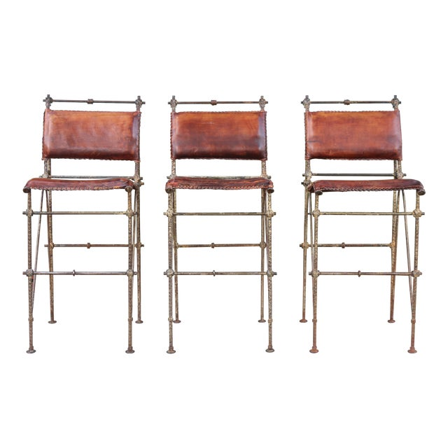 1970s Vintage Leather and Metal High Barstools- Set of 3 For Sale