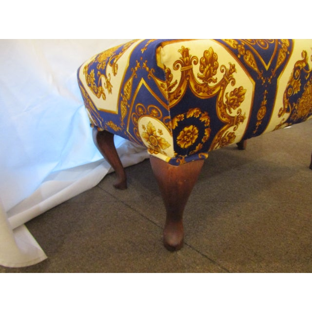 Contemporary 1990s Contemporary Colorful Upholstered Ottoman with Carved Cabriole Legs For Sale - Image 3 of 5