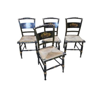 1950s Vintage Hitchcock-Style Painted Dining Chairs - Set of 4 For Sale