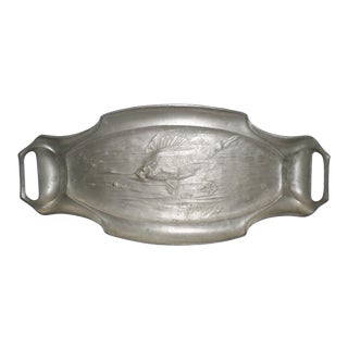 Antique Orivit Pewter Art Nouveau German Fish Platter For Sale