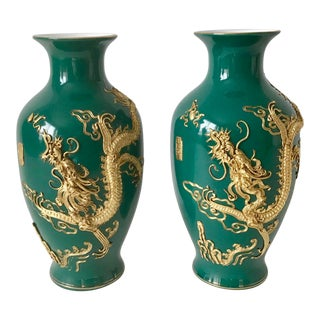 Chinese Vintage Porcelain Vases With Golden Dragons - a Pair For Sale