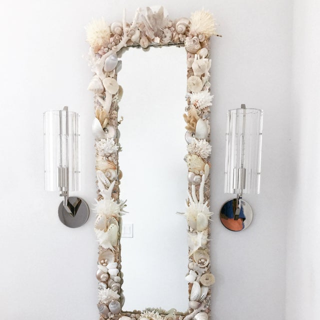 White Custom White Seashell and Coral Mirror For Sale - Image 8 of 9