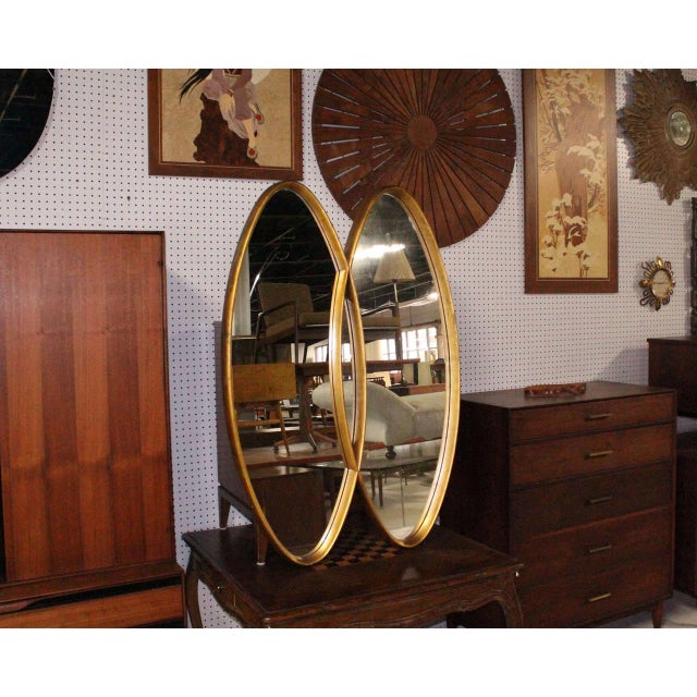 Gold Dual Interlocking Oval Gold Frame Mirror For Sale - Image 8 of 10