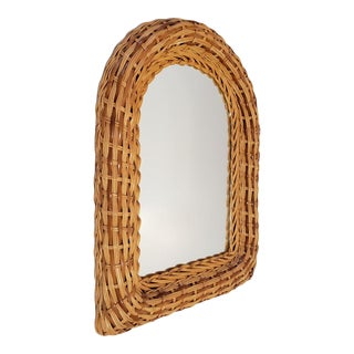 Vintage Natural Wicker Original 1970s Arch Wall Mirror For Sale