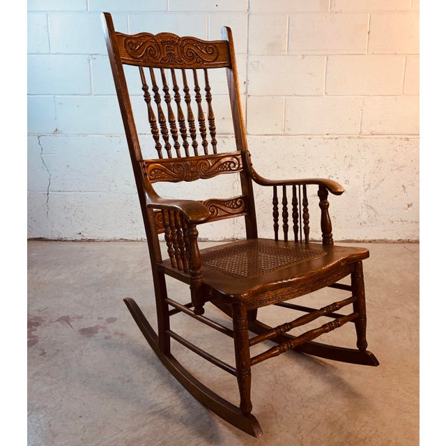 American Quarter-Sawn Oak Hand Carved Rocking Chair For Sale - Image 3 of 13