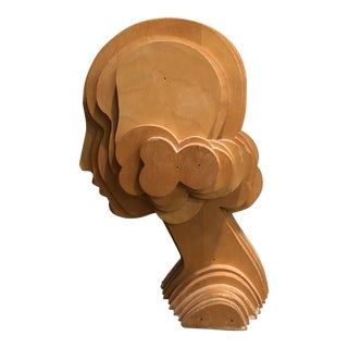1940s Folk Art Abstract Plywood Woman Head Form Millinery Sculpture For Sale