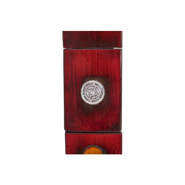 Ceramic Tile Mirror by Oswald Tieberghien in Red Glaze For Sale - Image 6 of 10