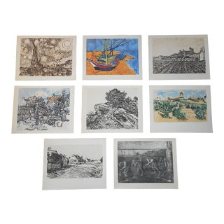 Vintage Silkscreen Prints-Vincent Van Gough - Set of 8 For Sale